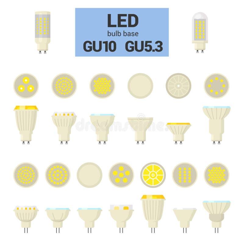 Reeks van het de LEIDENE de lichte bollen vector kleurrijke pictogram van GU10 vector illustratie