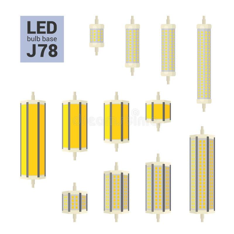 Reeks van het de LEIDENE de lichte bollen vector kleurrijke pictogram van J78 royalty-vrije illustratie