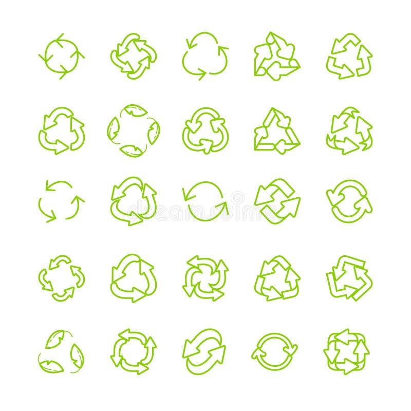 Reeks van het de lijn de vectorpictogram van de recyclingsecologie dun royalty-vrije illustratie