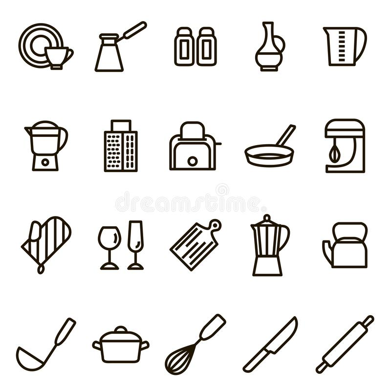 Reeks van het de Lijnpictogram van keukengereedschaptekens de Zwarte Dunne Vector royalty-vrije illustratie