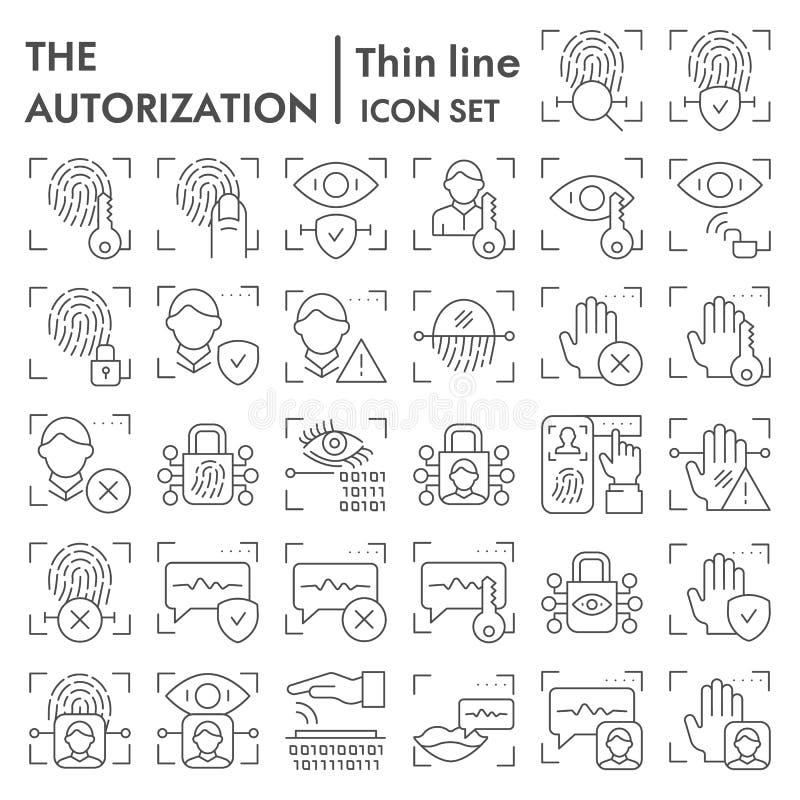 Reeks van het de lijnpictogram van de veiligheidsautorisatie de dunne, de symboleninzameling van de identificatiescanner, vectors stock illustratie