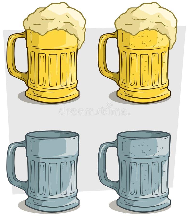 Reeks van het de mokken vectorpictogram van het beeldverhaal de geribbelde kleurrijke bier royalty-vrije illustratie