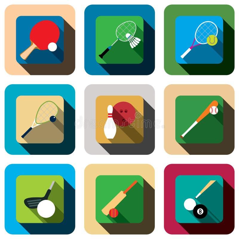 Reeks van het de schaduwpictogram van het sportspel de lange vector illustratie