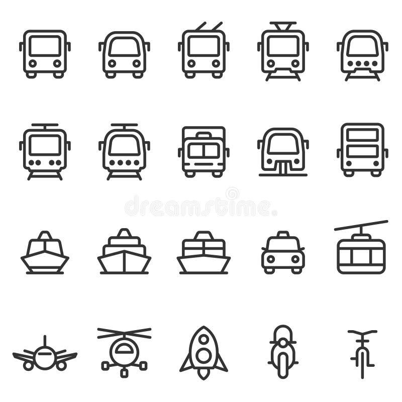 Reeks van het de stijlpictogram van het openbaar vervoer de vectoroverzicht stock illustratie