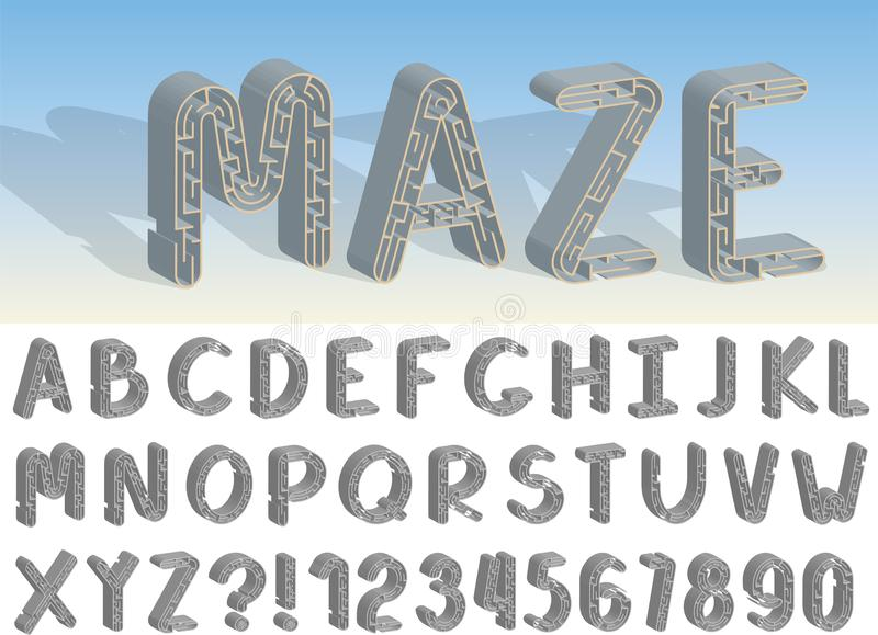 Reeks van het de vectordoopvont en alfabet van het lijnlabyrint stock illustratie