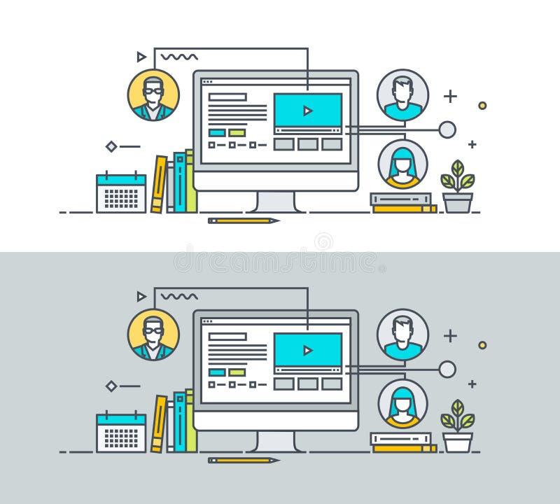 Reeks van het dunne concept van het lijn vlakke ontwerp op het thema van online onderwijs stock illustratie