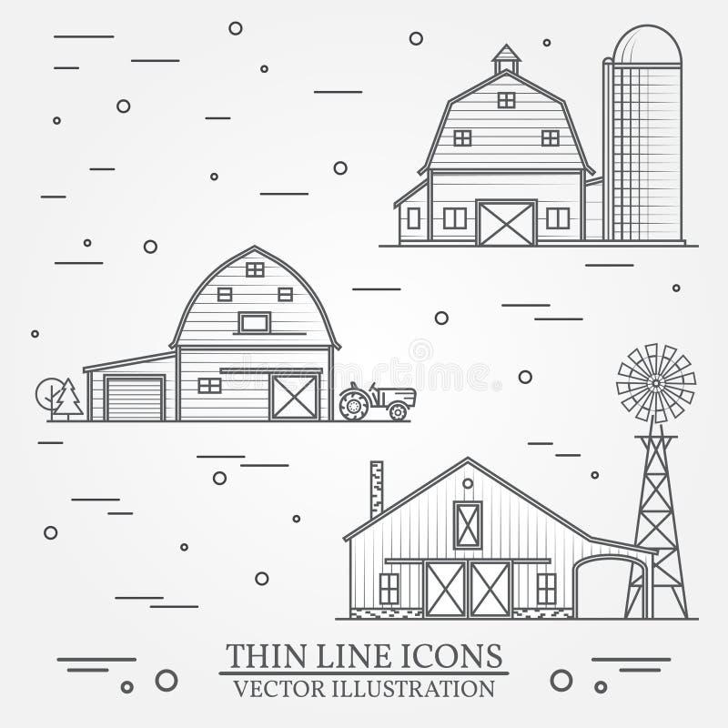 Reeks van het dunne pictogram van het lijn Amerikaanse landbouwbedrijf stock illustratie