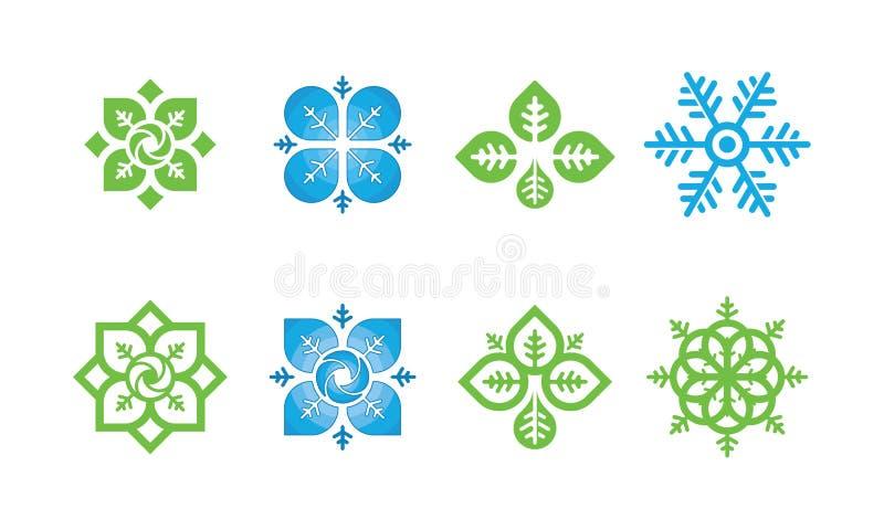 Reeks van het embleem van het Aardblad, milieuembleem, het malplaatjeontwerpen van het ecologieembleem, Lotus Wellness Logo Desig stock illustratie