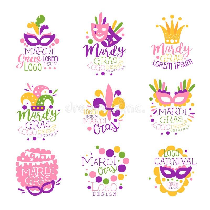 Reeks van het het embleem de originele ontwerp van Mardi Gras Carnaval, hand getrokken kleurrijke vectorillustraties vector illustratie