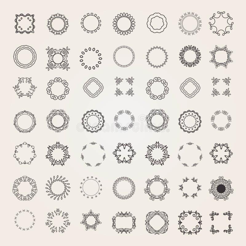 Reeks van het embleem van het luxemonogram stock illustratie