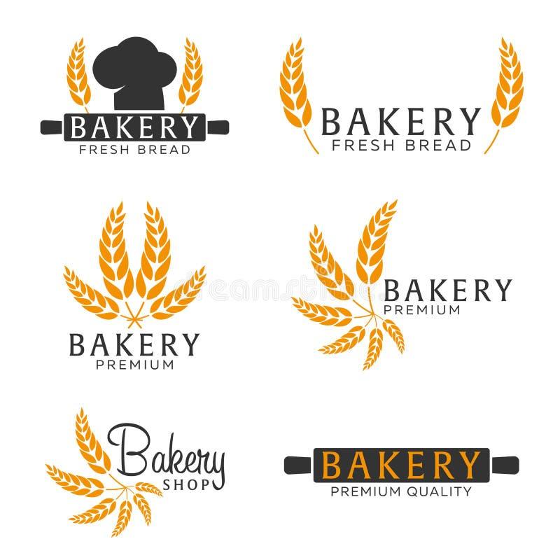 Reeks van het embleem van de Bakkerijwinkel, etiketten, embleem en ontwerpelementen Brood en tarwe Vector illustratie royalty-vrije illustratie
