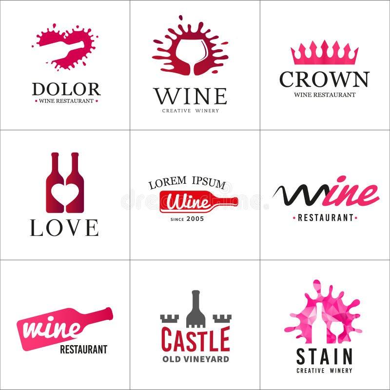 Reeks van het embleem van het wijnflessenglas Originele wijnmakerij stock foto's