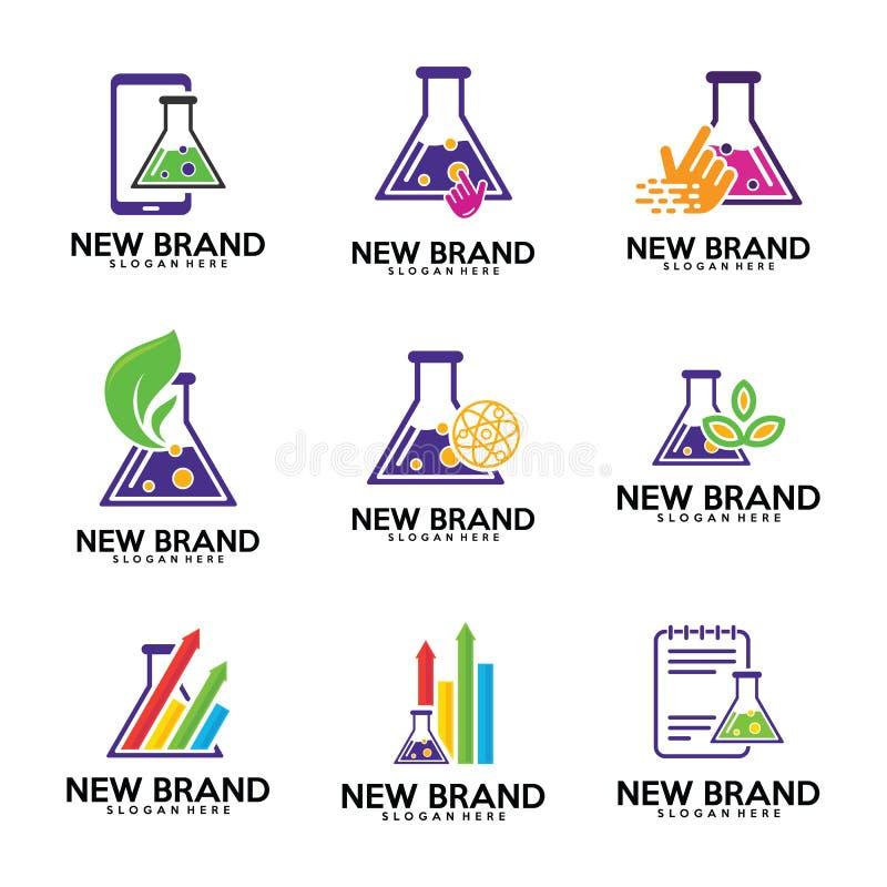 Reeks van het embleemmalplaatje van Chemielaboratoria, Biologielaboratoria, blad, stats, financiën, nota, aanrakingspictogram, te vector illustratie