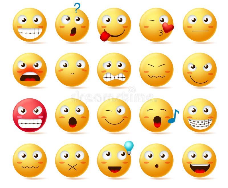Reeks van het Emoji de vectorpictogram Lachebekje of gele emoticons met diverse gelaatsuitdrukking stock illustratie