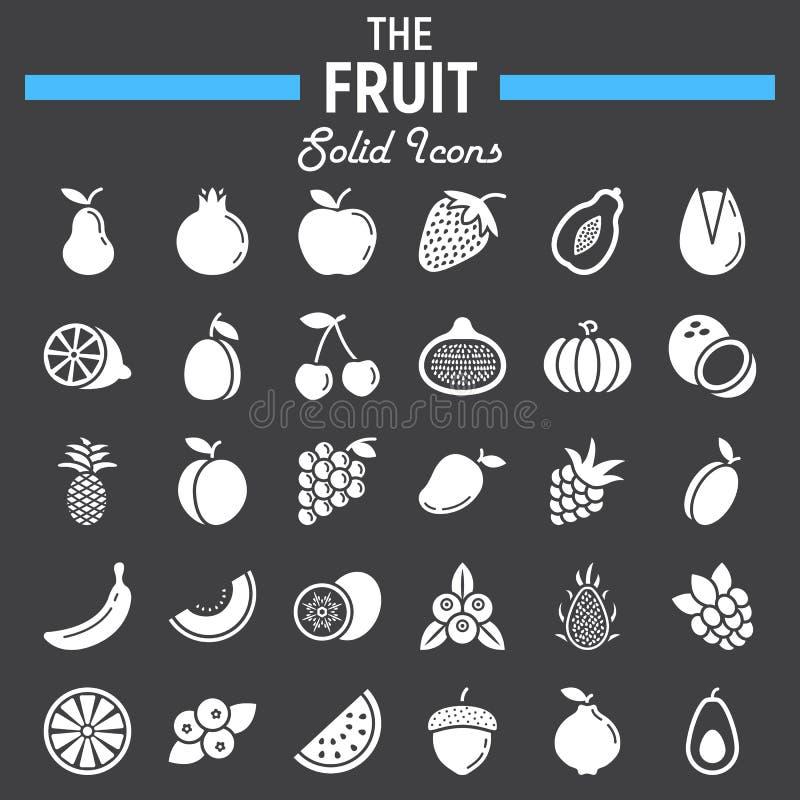 Reeks van het fruit de stevige pictogram, de inzameling van voedselsymbolen royalty-vrije illustratie