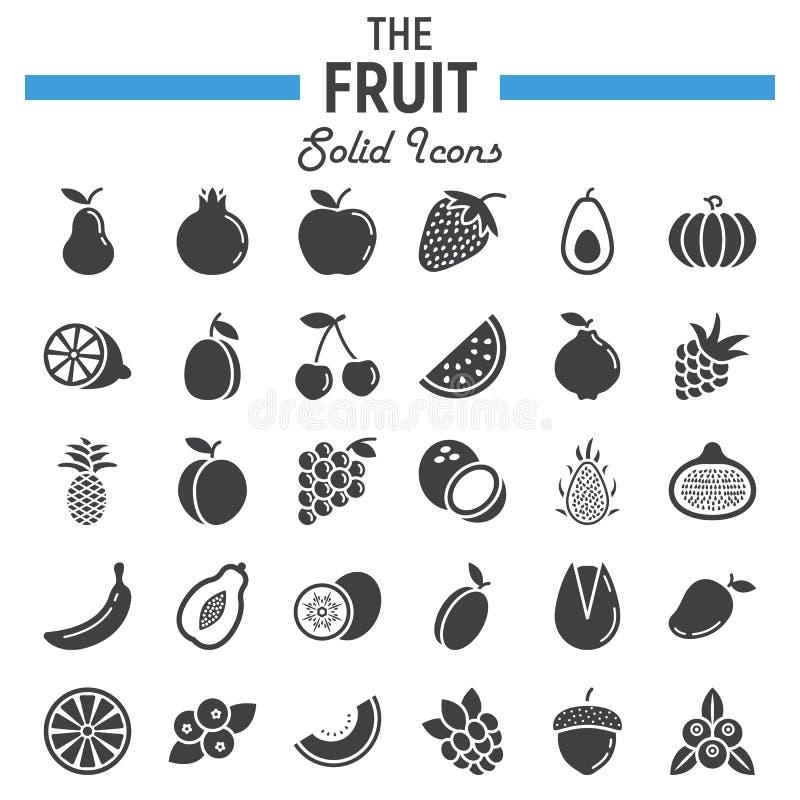 Reeks van het fruit de stevige pictogram, de inzameling van voedselsymbolen vector illustratie