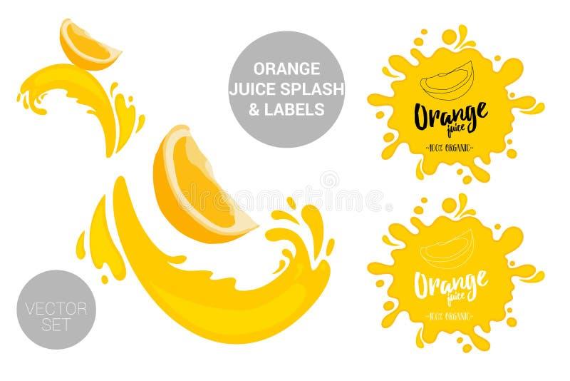 Reeks van het fruit de vectorpakket beeldverhaal oranje besnoeiingen op sapplonsen stock illustratie