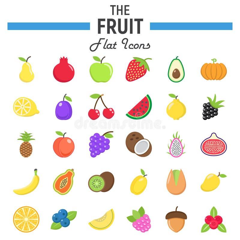 Reeks van het fruit de vlakke pictogram, de inzameling van voedselsymbolen royalty-vrije illustratie