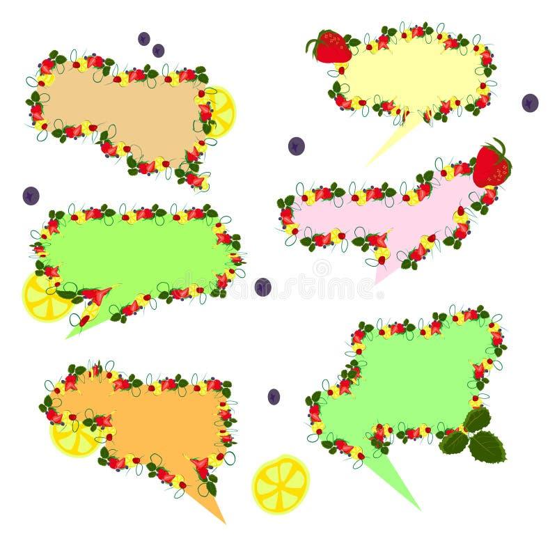reeks van het fruit van toespraakbellen vector illustratie