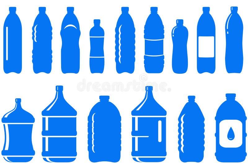 Reeks van het geïsoleerden pictogram van de waterfles royalty-vrije illustratie