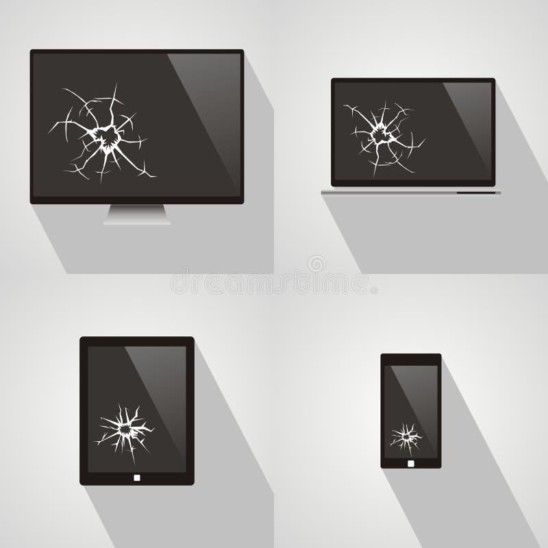 Reeks van het gebroken scherm van slimme telefoon, computer, notitieboekje, TV, mon royalty-vrije illustratie