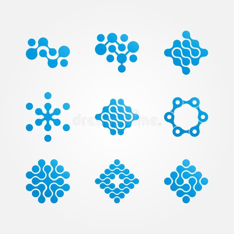 Reeks van het gestileerde embleem van de neuronen moleculaire gezondheid vector illustratie