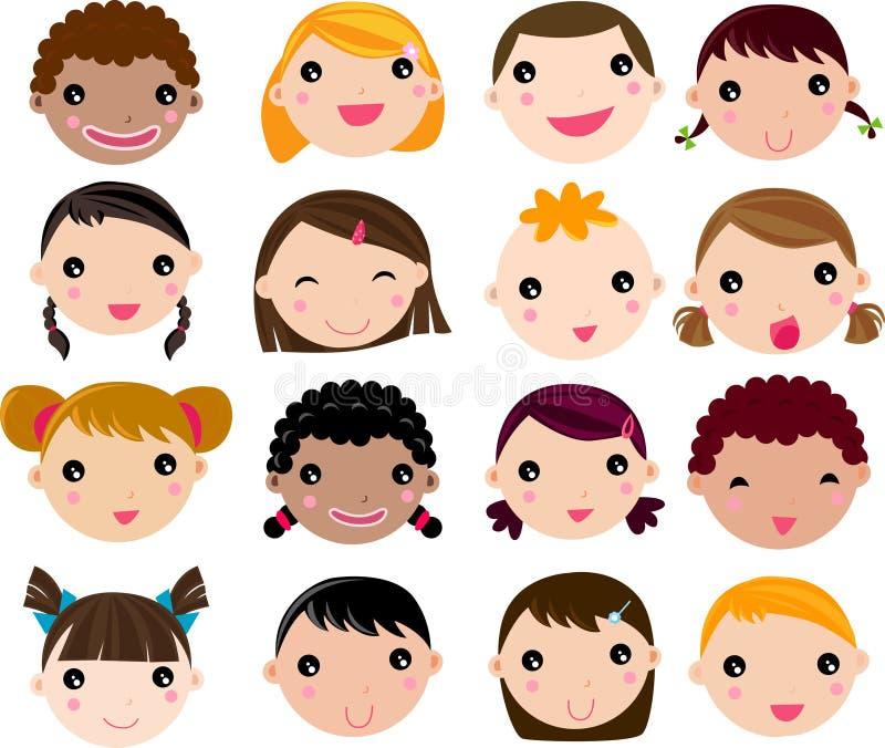 Reeks van het gezicht van beeldverhaalkinderen royalty-vrije illustratie