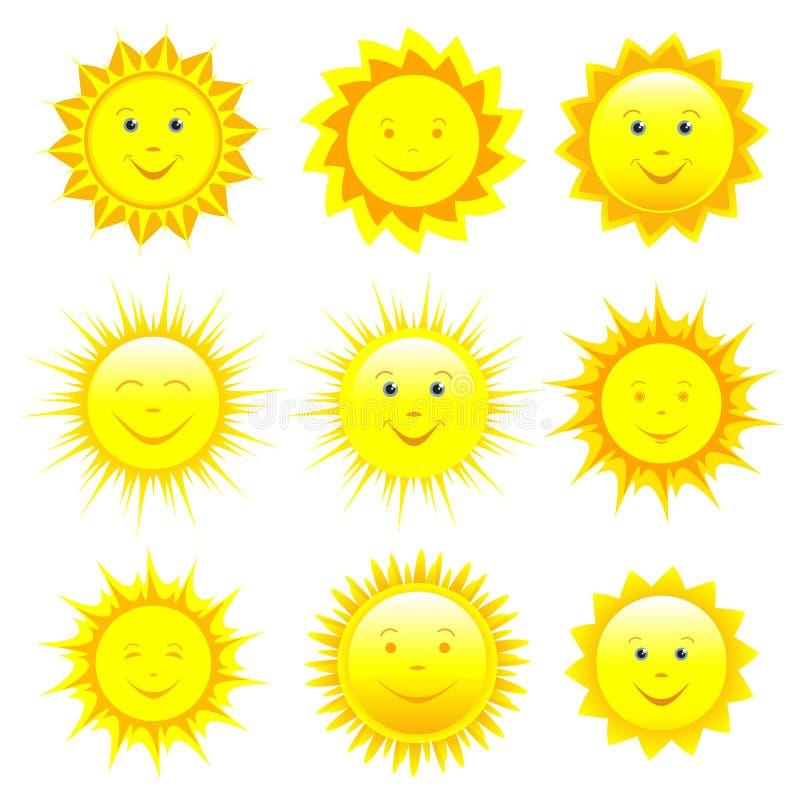 Reeks van het glimlachen van zon over wit royalty-vrije illustratie