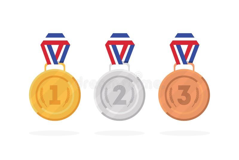 Reeks van het goud, het brons en het zilver van winnaarmedailles Vector vector illustratie