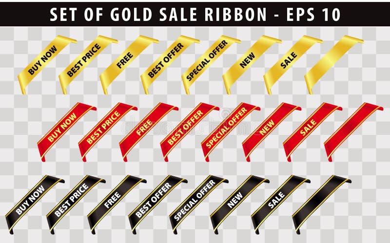Reeks van het gouden lint van de verkoophoek stock illustratie