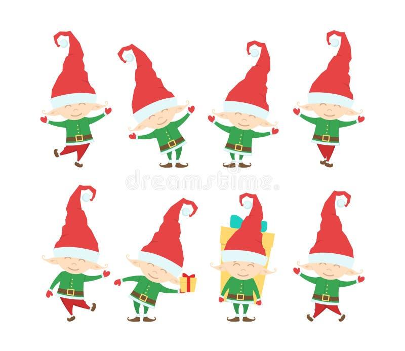 Reeks van het Grappige elf van de Kerstmiskerstman Beeldverhaalkarakters op witte achtergrond worden geïsoleerd die royalty-vrije illustratie