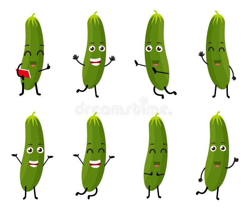 Reeks van het grappige karakter van het komkommer plantaardige beeldverhaal stock illustratie
