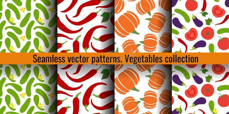 Reeks van het groenten de naadloze patroon Komkommer, peperspaanse peper, pompoen, tomaat en aubergine Manierontwerp Voedseldruk  stock illustratie
