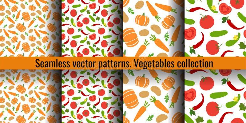 Reeks van het groenten de naadloze patroon Pompoen, aardappel, wortel, peper, komkommer, tomaat, Spaanse peper Manierontwerp Voed royalty-vrije illustratie
