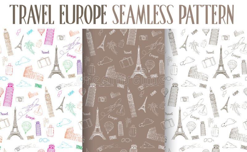 Reeks van het Hand Getrokken Naadloze Patroon van Reiseuropa stock illustratie