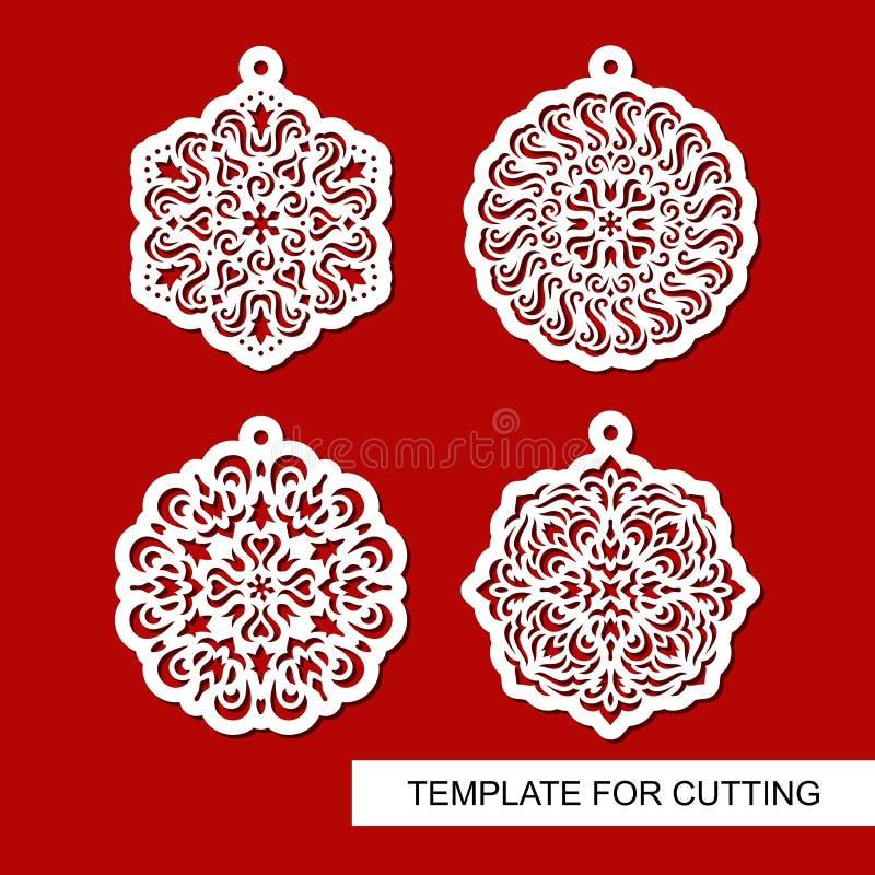 Reeks van het hangen van Kerstmisdecoratie Rond gesneden patronen stock illustratie