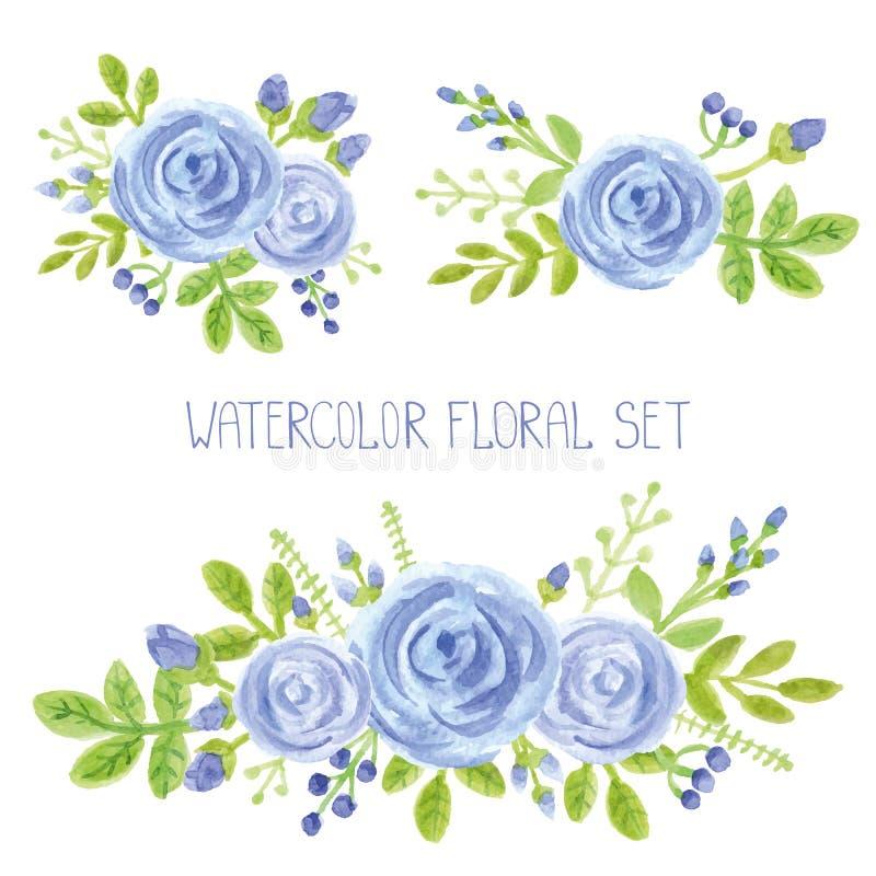 Reeks van het het boeketdecor van waterverf de blauwe bloemen stock illustratie