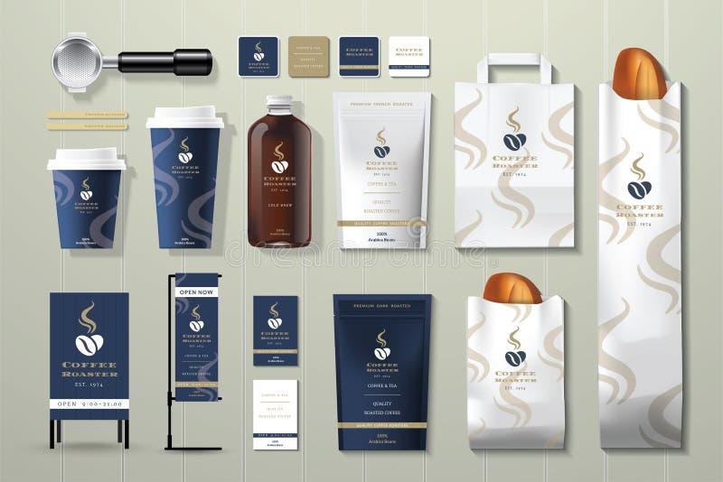 Reeks van het het malplaatjeontwerp van de koffiebrander de collectieve identiteit royalty-vrije illustratie