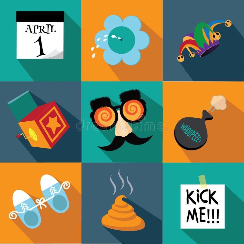 Reeks van het het ontwerppictogram van April Fools Day de vlakke vector illustratie