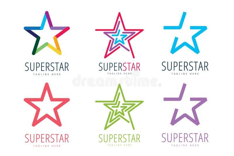 Reeks van het het pictogrammalplaatje van het ster de vectorembleem Leider, werkgever stock illustratie