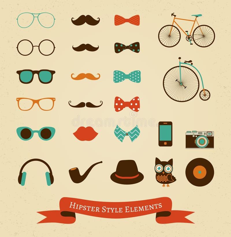 Reeks van het Hipster Retro Uitstekende Pictogram vector illustratie