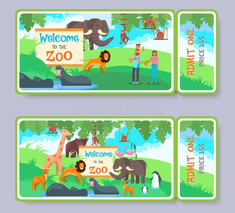 Reeks van het het kaartjes de vectormalplaatje van de dierentuintoelating royalty-vrije illustratie