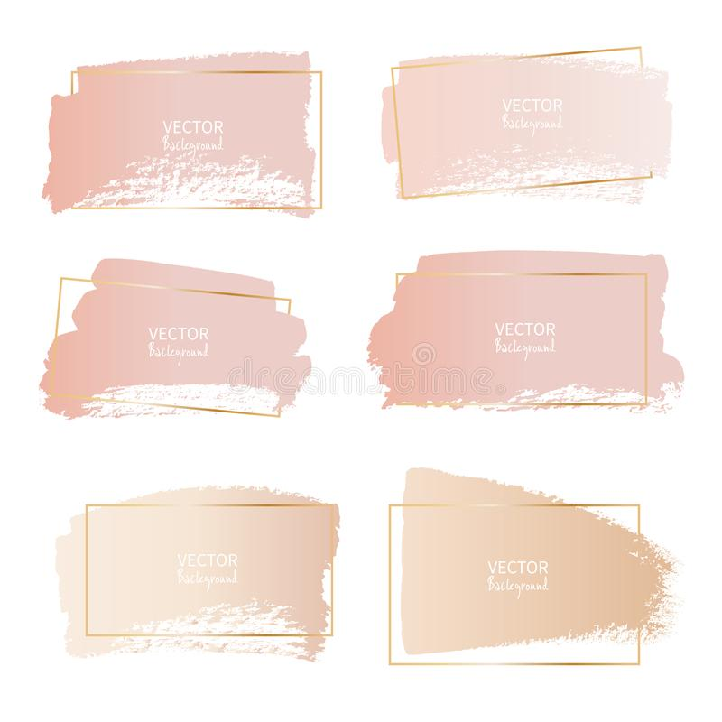 Reeks van het kader van de borstelslag, Gouden roze borstelslagen stock illustratie
