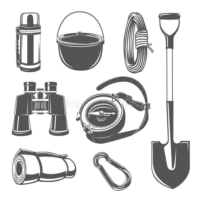 Reeks van het kamperen materiaalillustratie vector illustratie