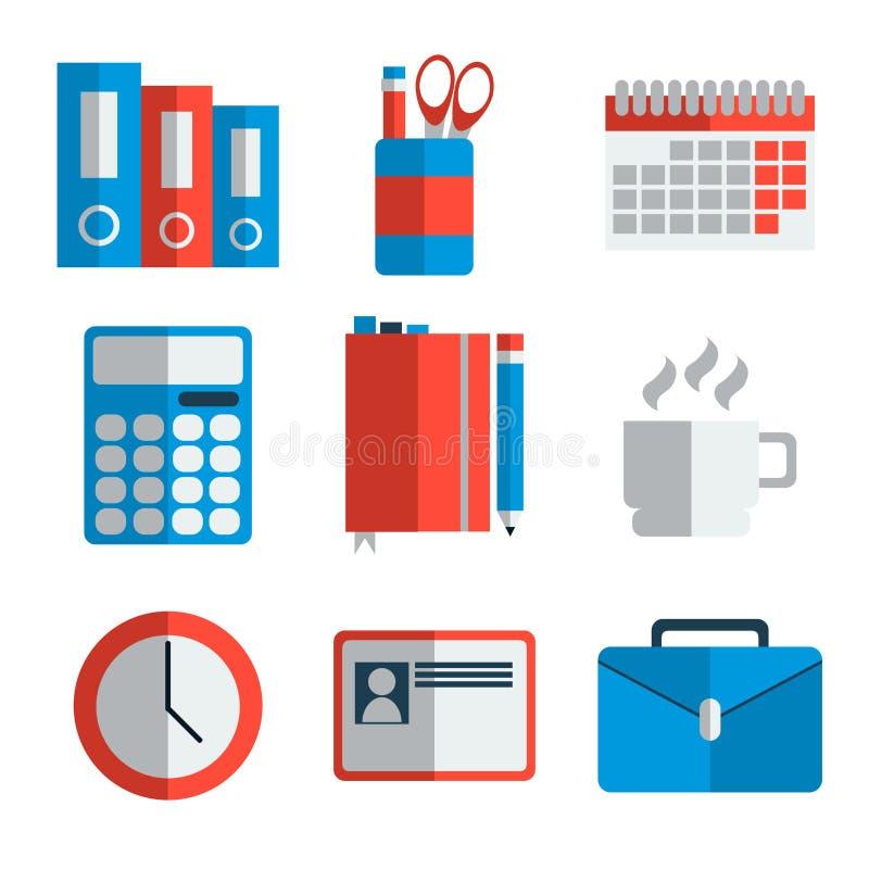 Reeks van het kantoorbenodigdheden de vlakke pictogram vector illustratie