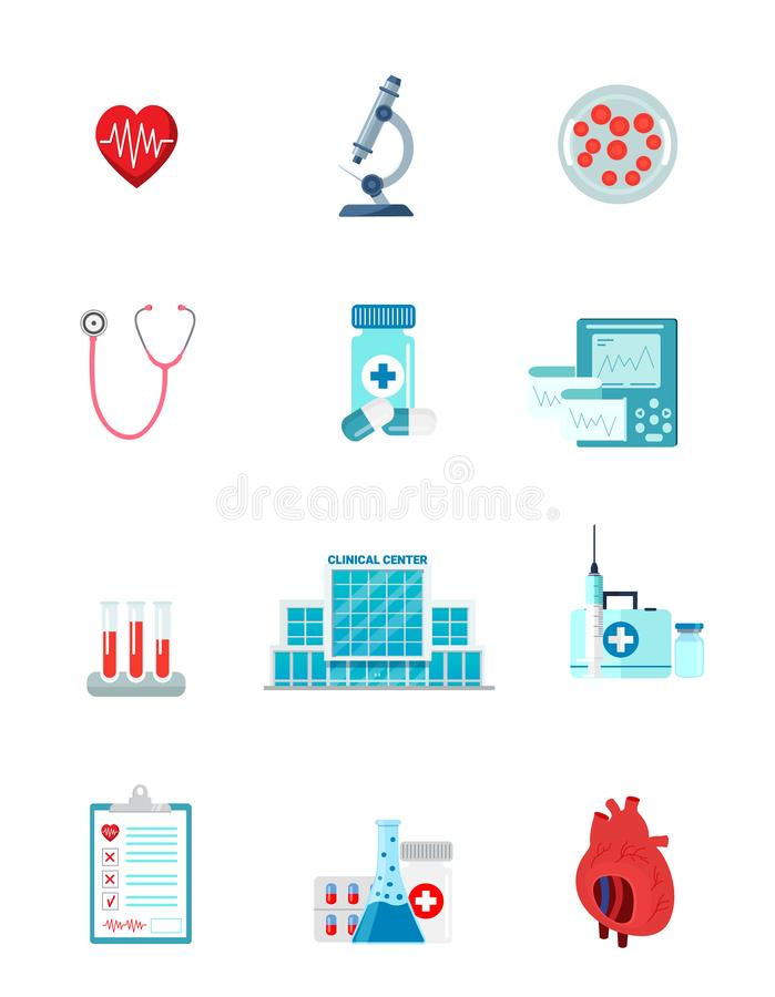 Reeks van het karakter van geneeskundepictogrammen stock illustratie