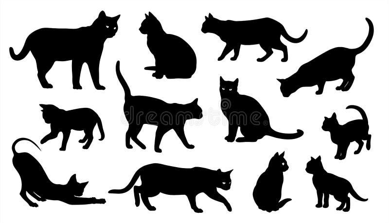 Reeks van het katten de vectorsilhouet katten stock illustratie