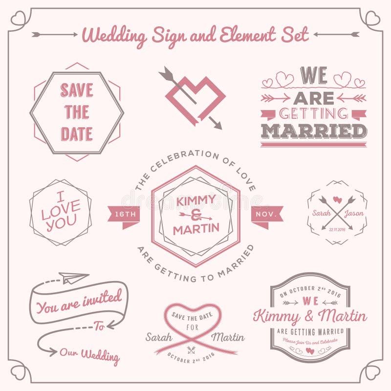 Reeks van het kenteken en het teken het ontwerp van decoratieelementen van de huwelijksviering royalty-vrije illustratie
