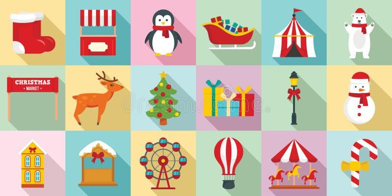 Reeks van het Kerstmis de eerlijke pictogram, vlakke stijl royalty-vrije illustratie