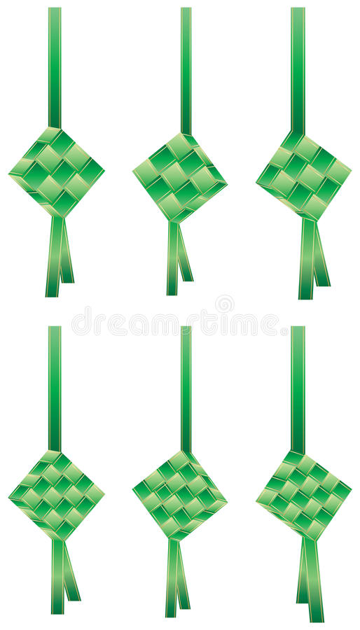 Reeks van het Ketupat de groene lint vector illustratie